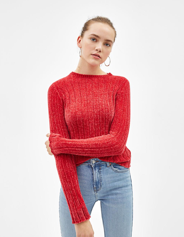 シェニール織りリブ地セーター