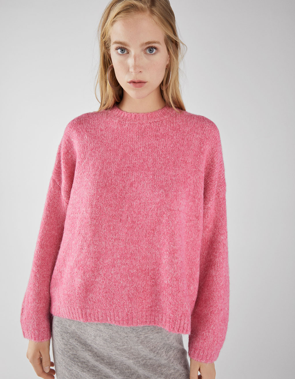 Cropped long sleeve sweater