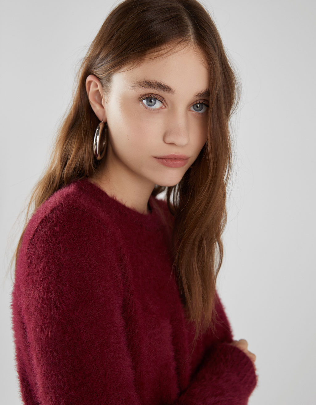 Long sleeve fuzzy sweater