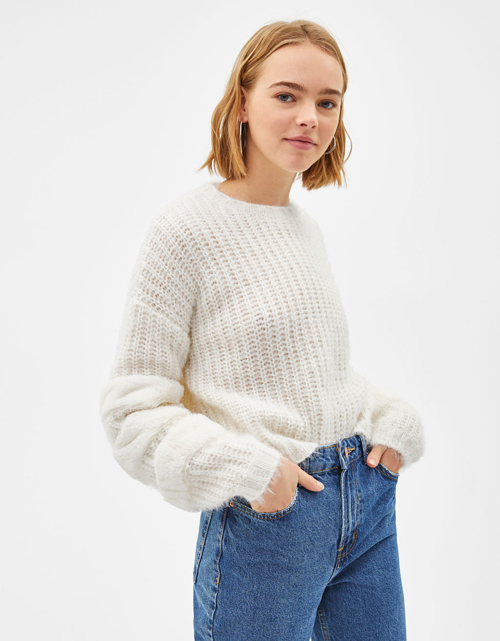 Sweater with fuzzy stripes