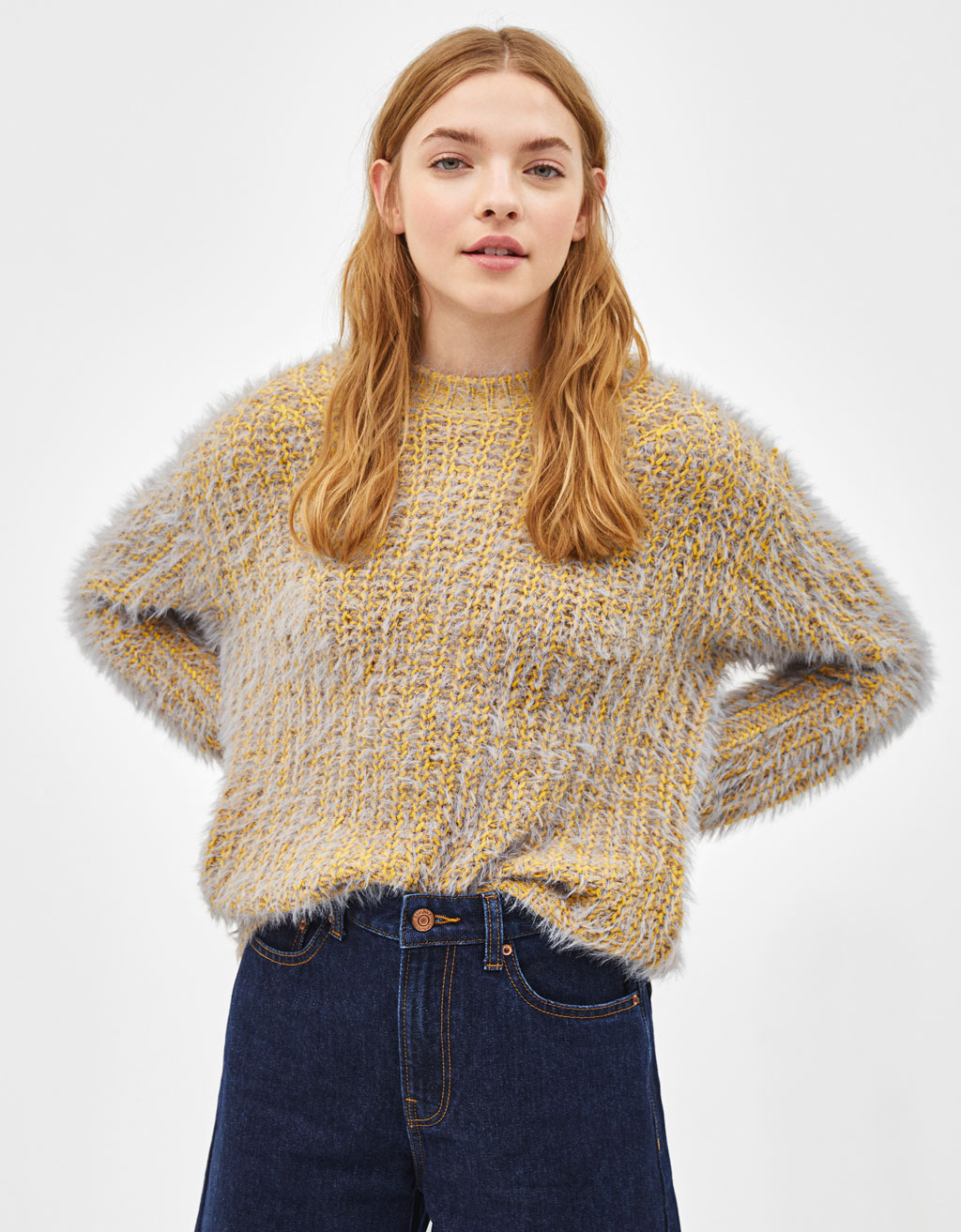 Faux fur knit sweater