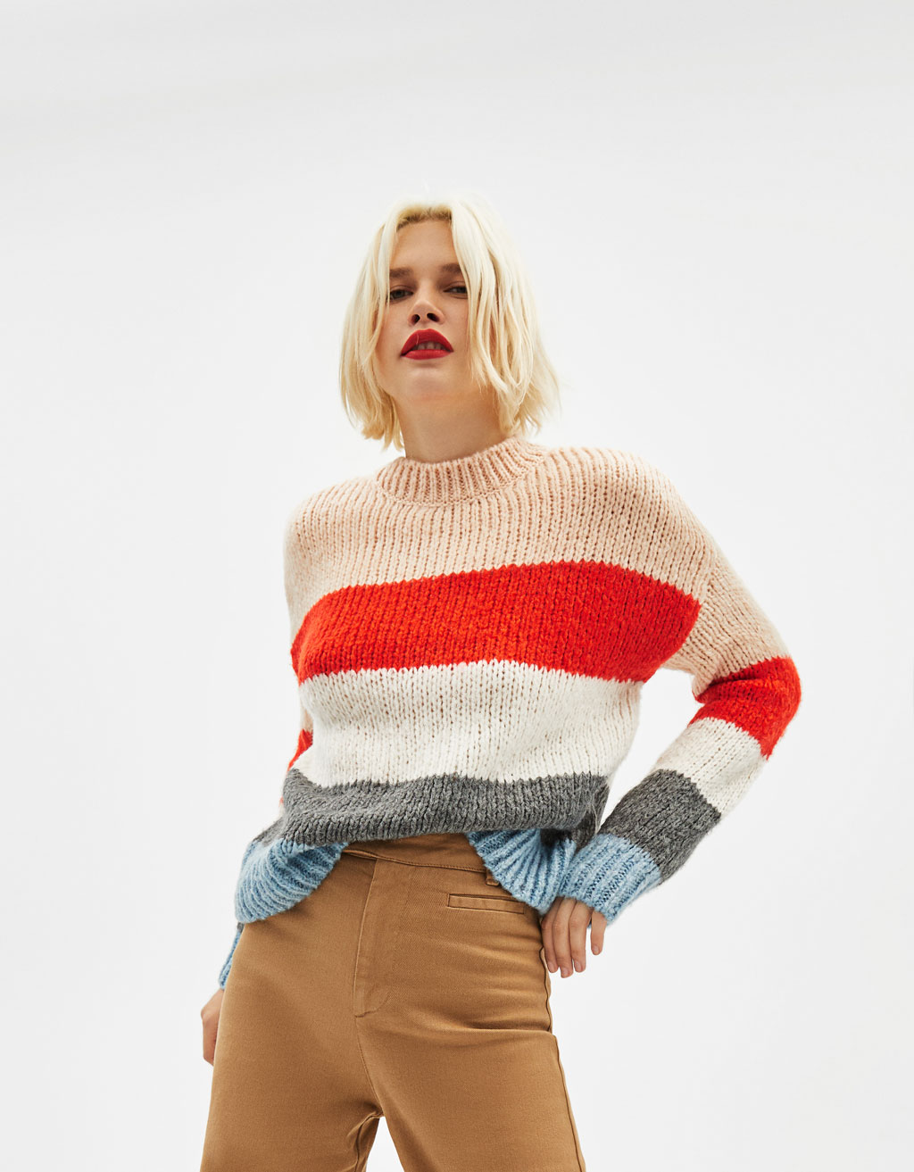Sweater de malha com color block