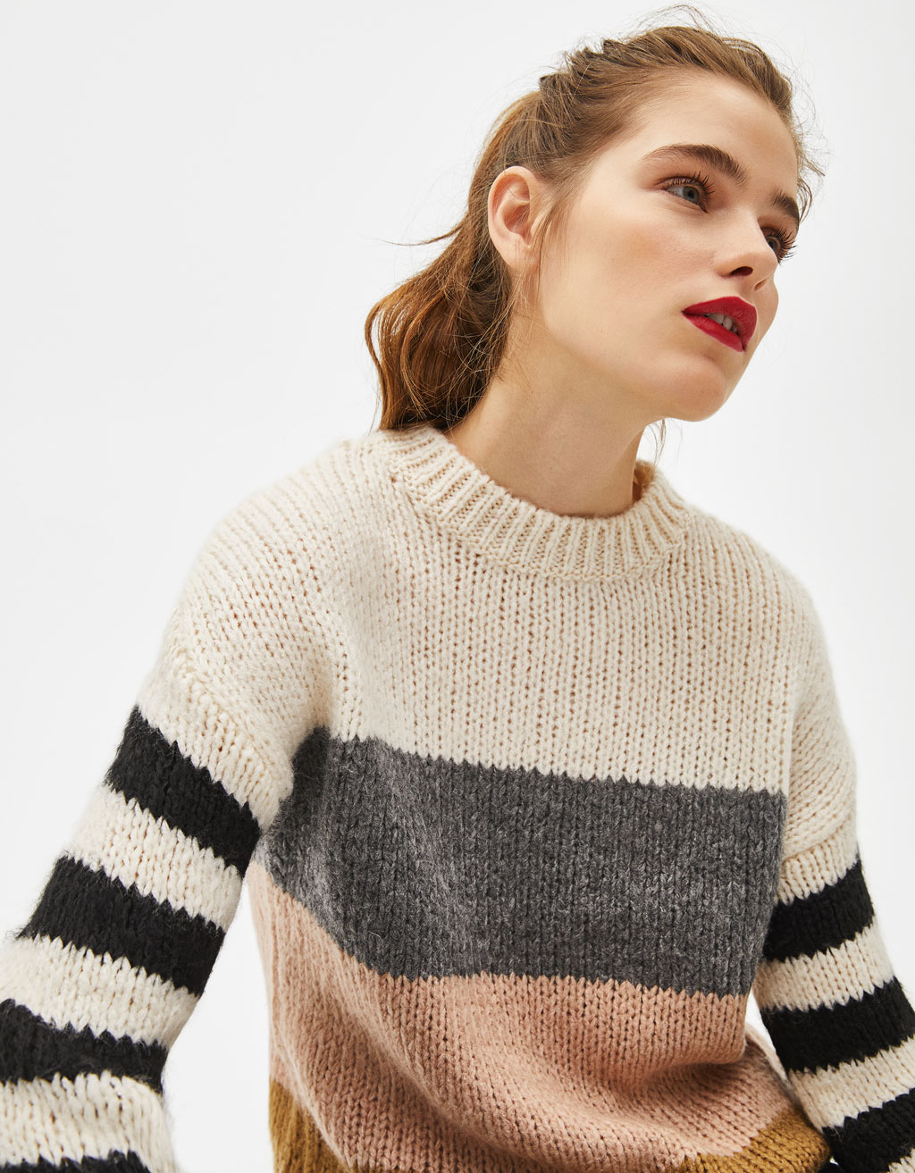 Knit colour block sweater