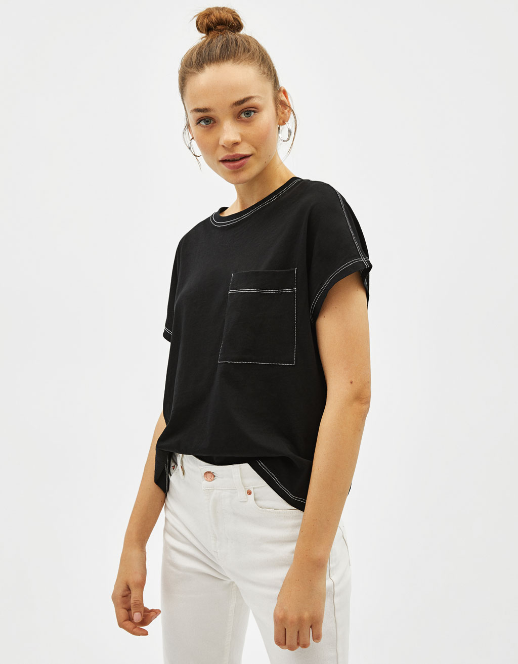Contrast T-shirt with pocket