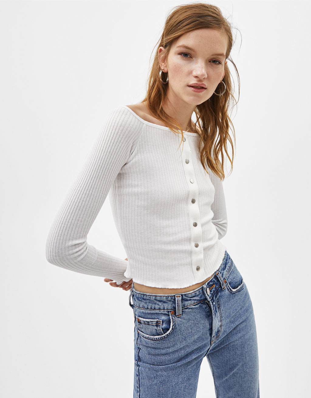 Button-up off-the-shoulder top