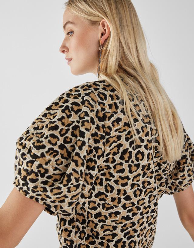 Shirt im Leoparden-Look mit Puffärmeln