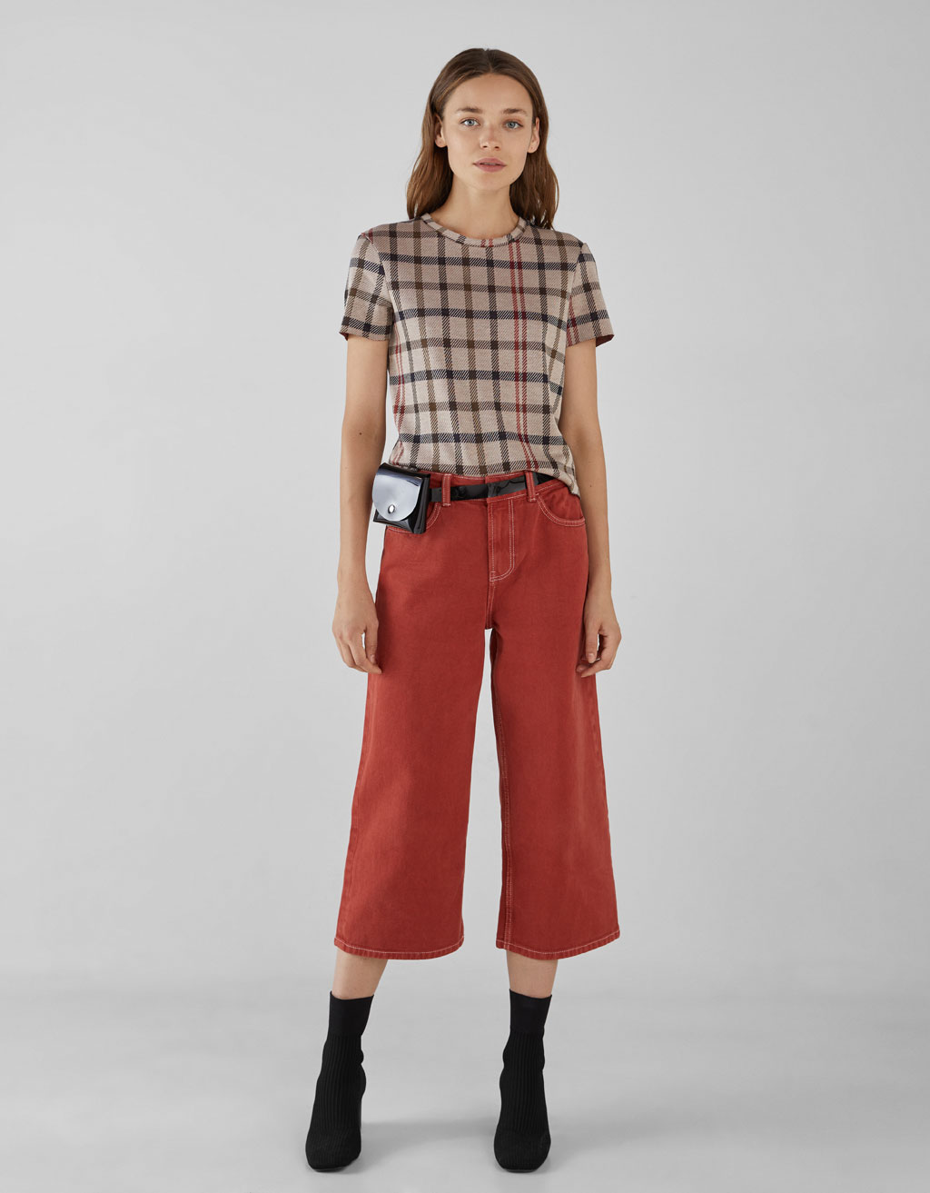 Checked jacquard top
