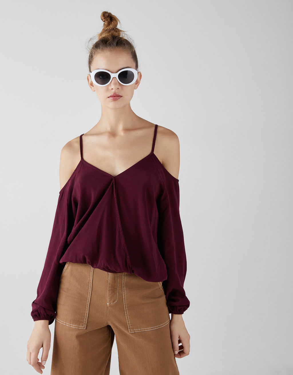 Strappy top with exposed shoulders