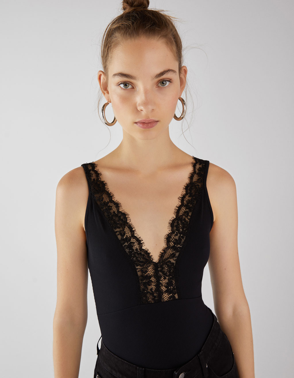 Strappy bodysuit with lace trim