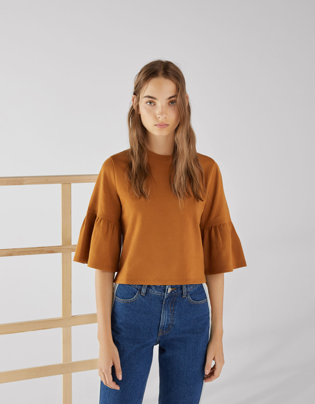 Ruffled knit T-shirt