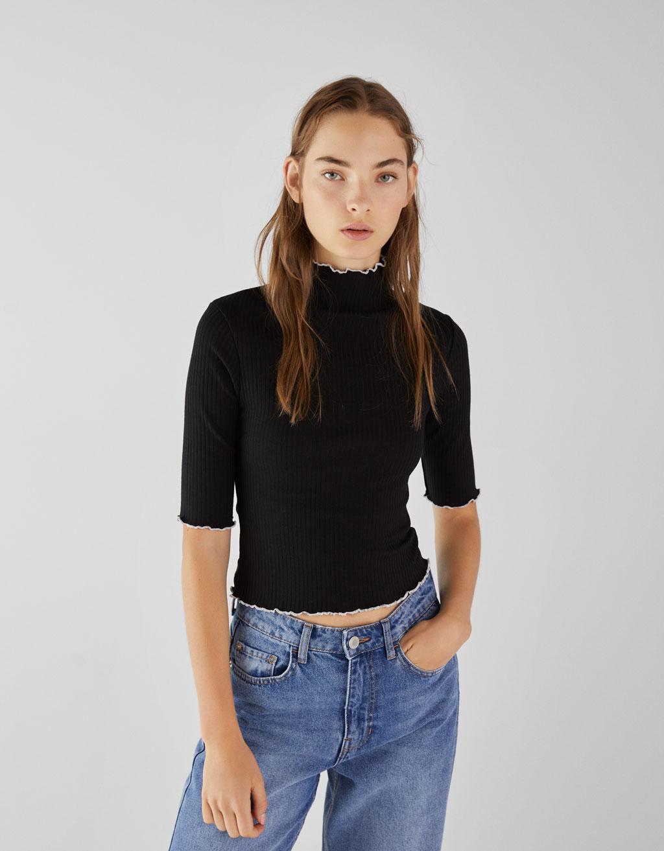 T-shirt côtelé contrastant