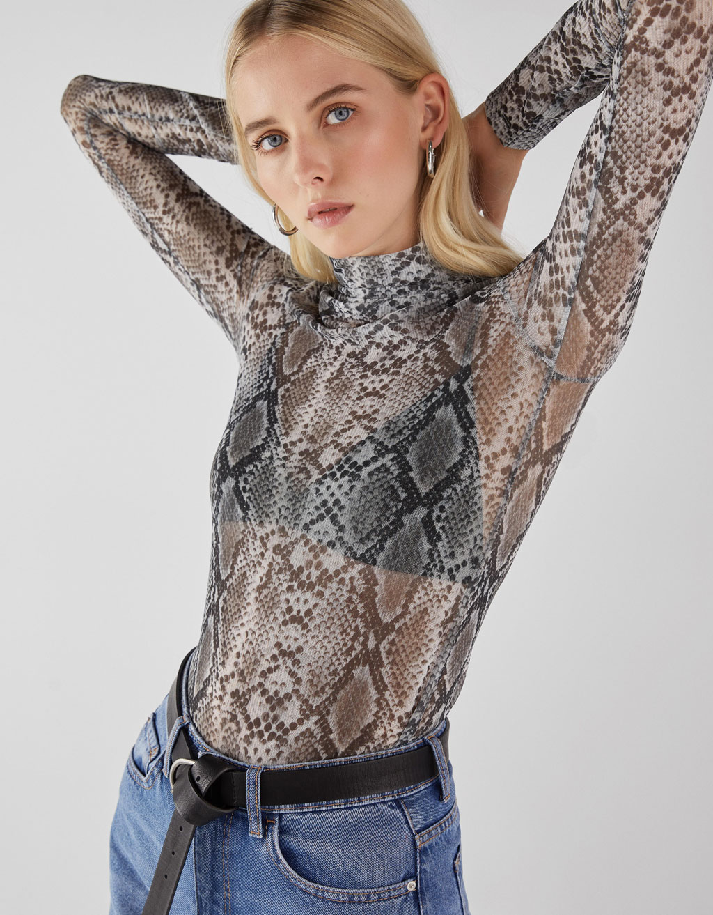Semi-sheer high neck top