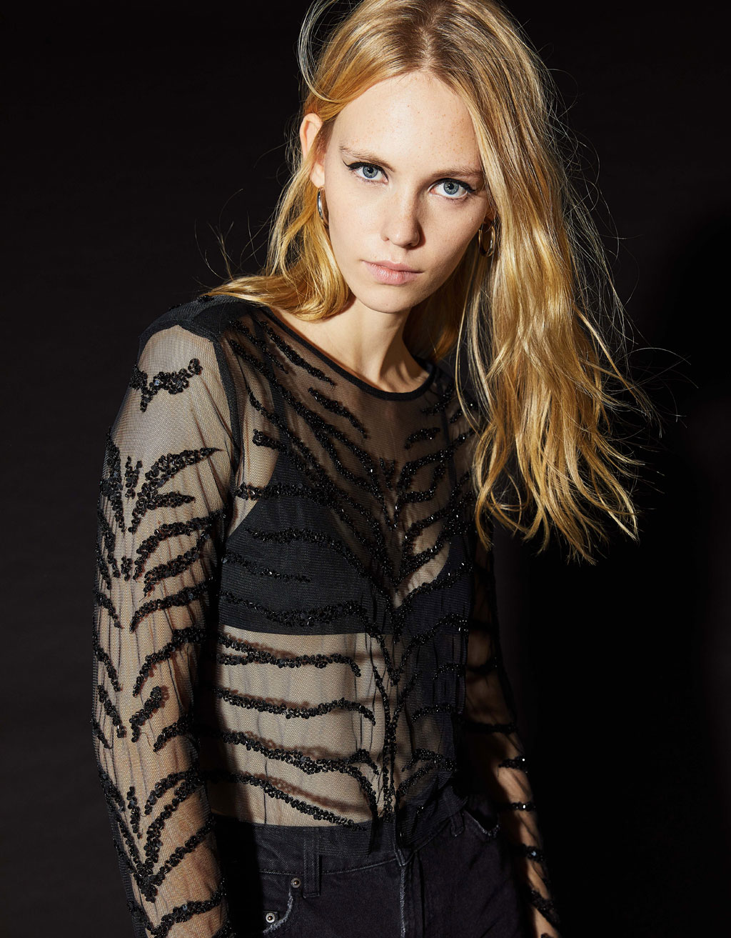 Top with sequined zebra-stripe embroidery