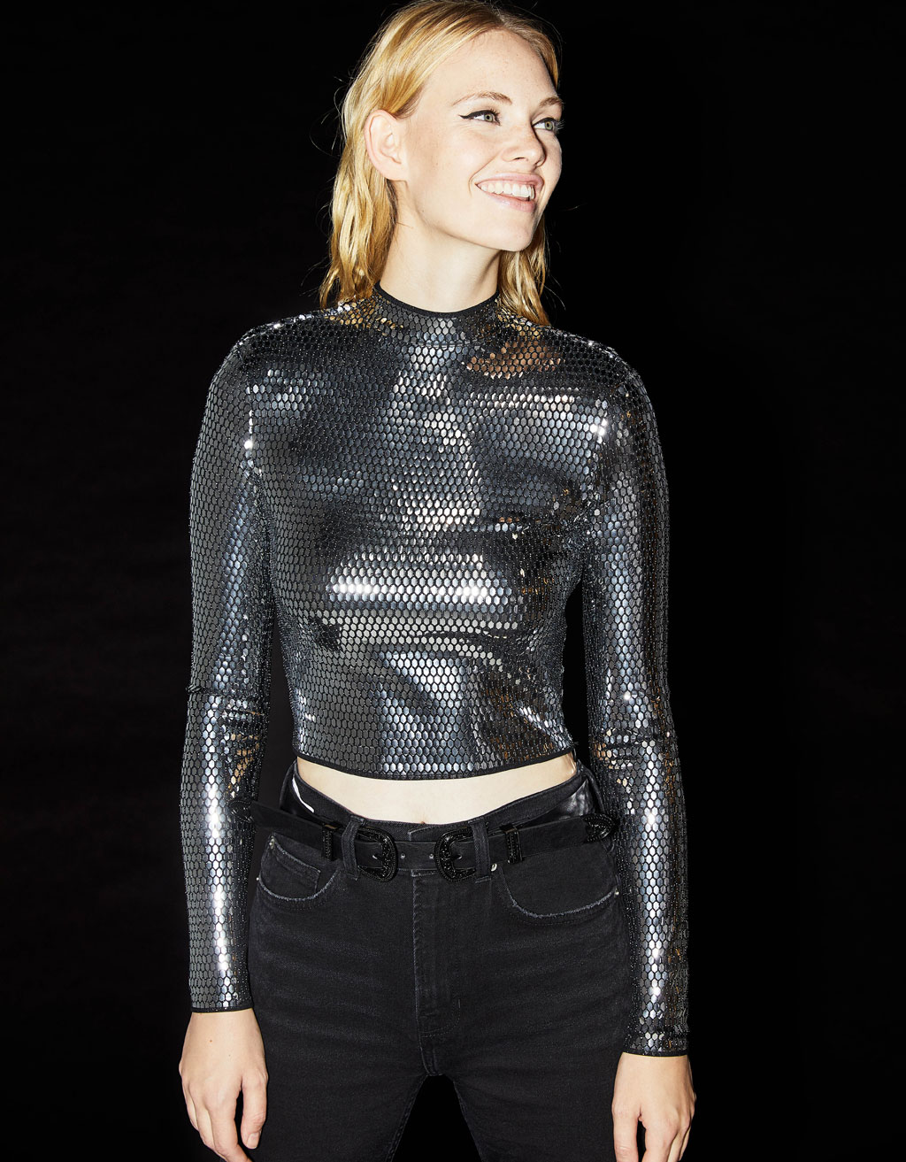 Cropped sweater with metallic effect