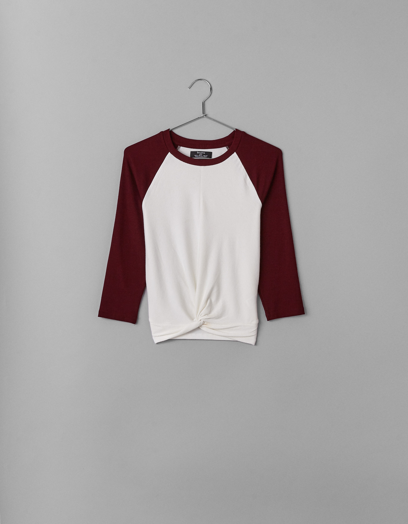 e75aabbf9fae Bershka Raglan sleeve T-shirt with front knot at £9.99 | love the brands