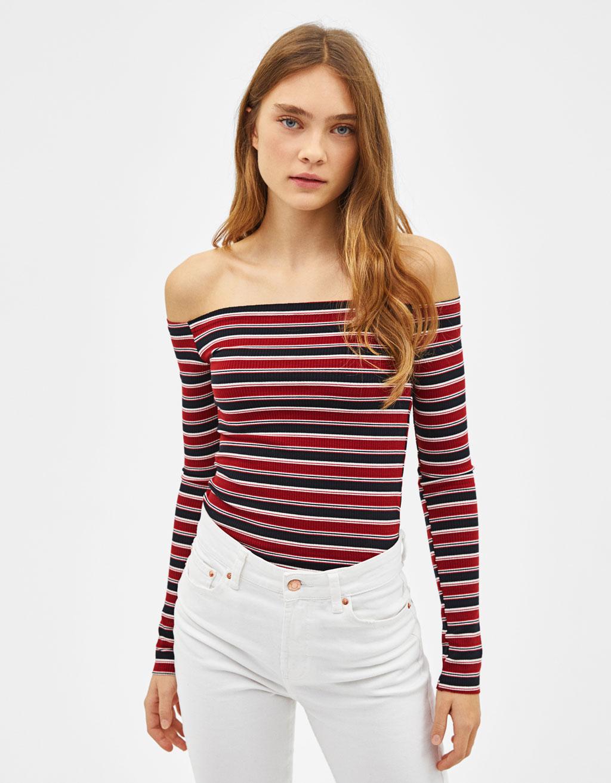 Bardot neckline T-shirt