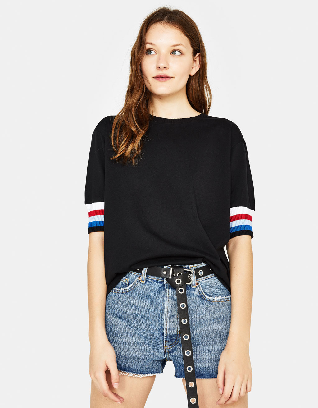 T-shirt with striped sleeves