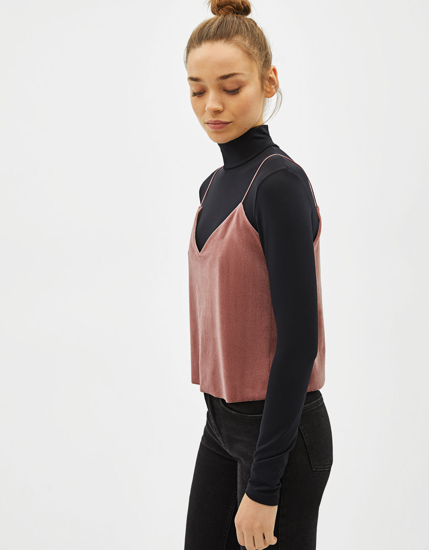 Velvet T Shirt With Straps by Bershka