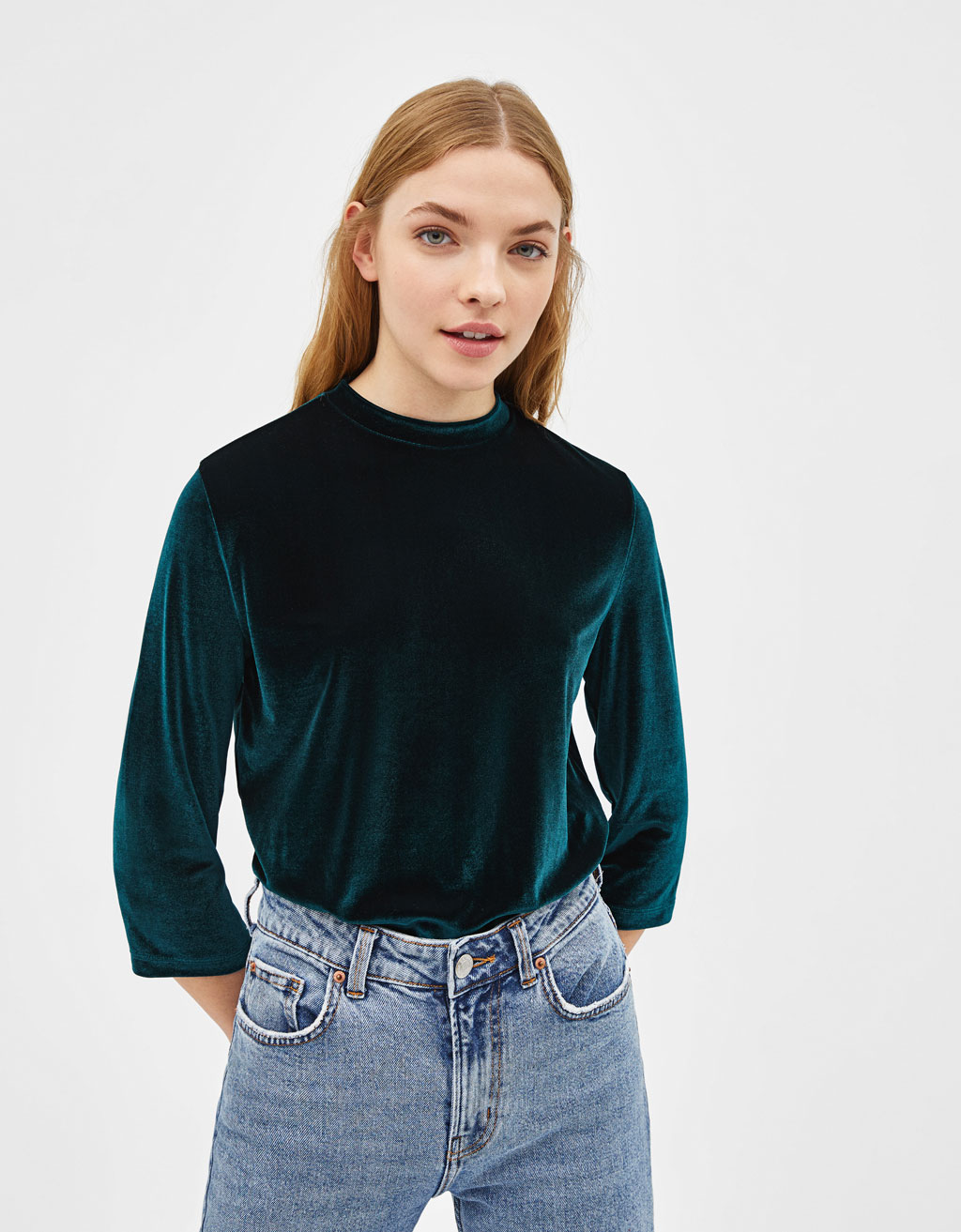 High neck velvet T-shirt