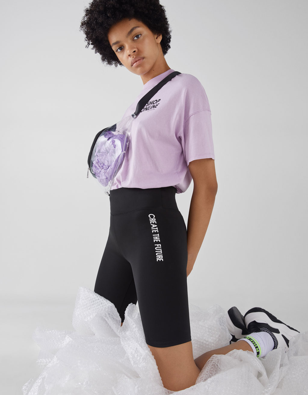 Sporty leggings with slogan