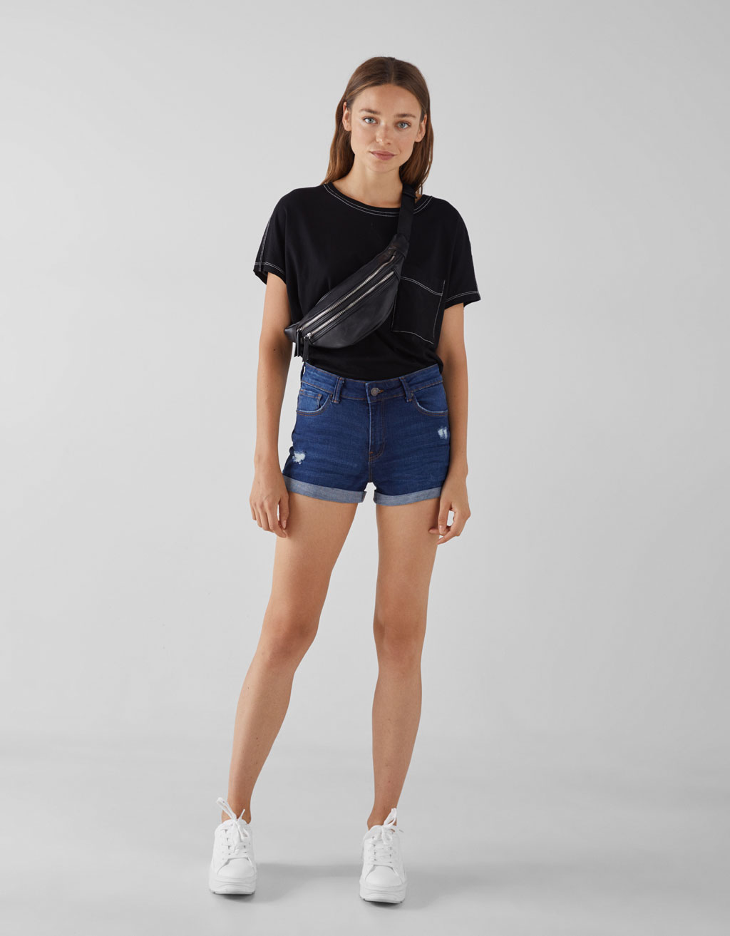 Short denim revers