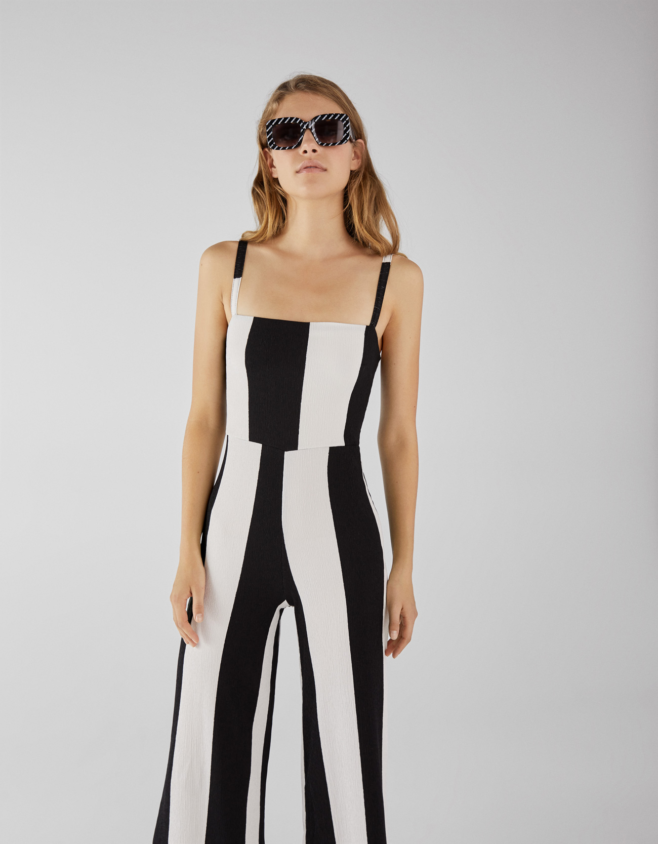 072a627504b0 Bershka Black And White Striped Jumpsuit