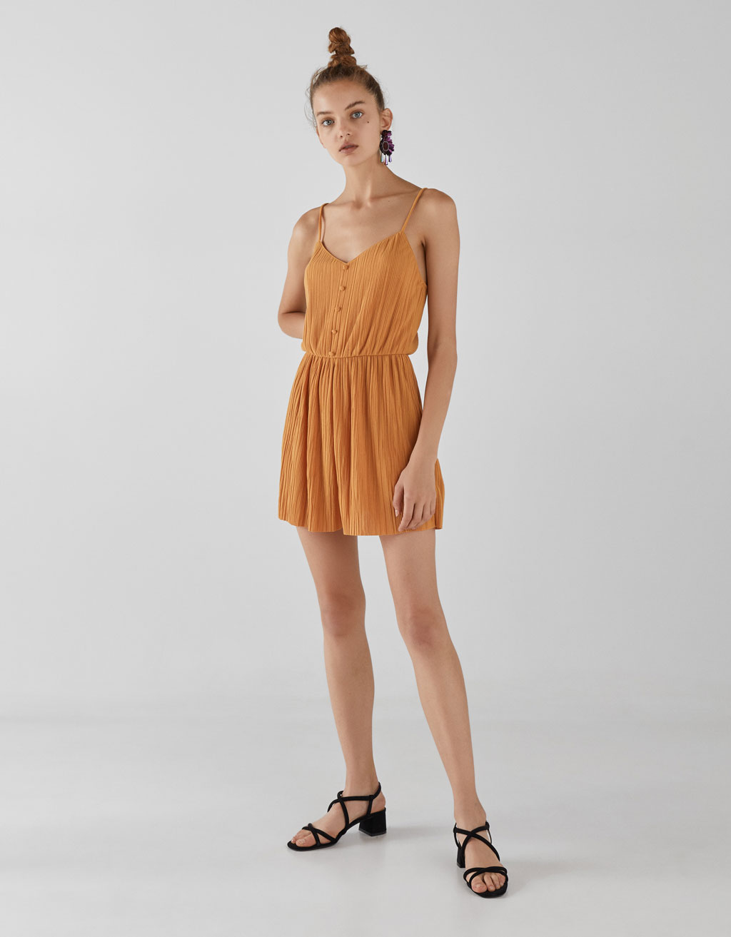 Pleated romper