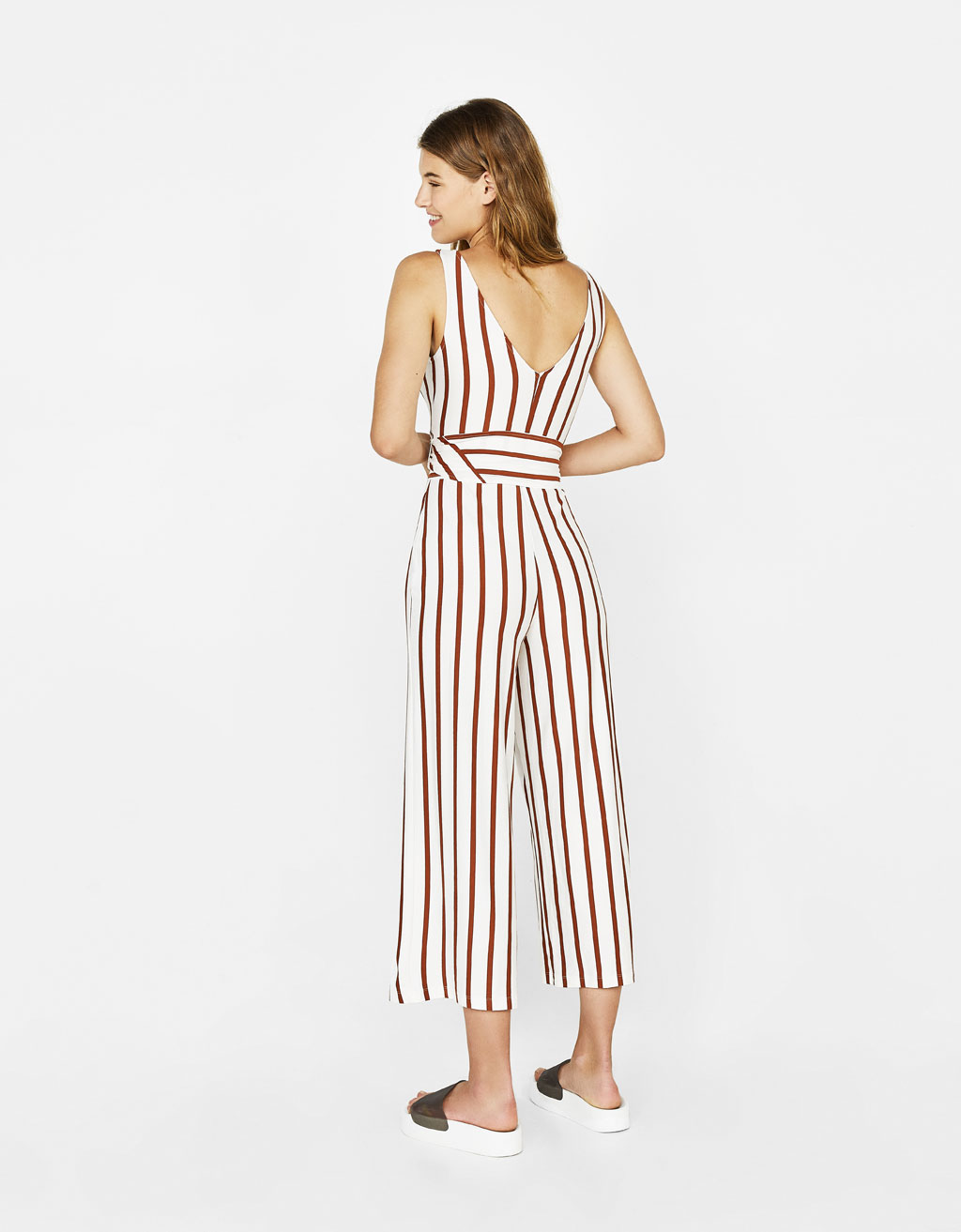 Long jumpsuit with belt - null - Bershka Switzerland
