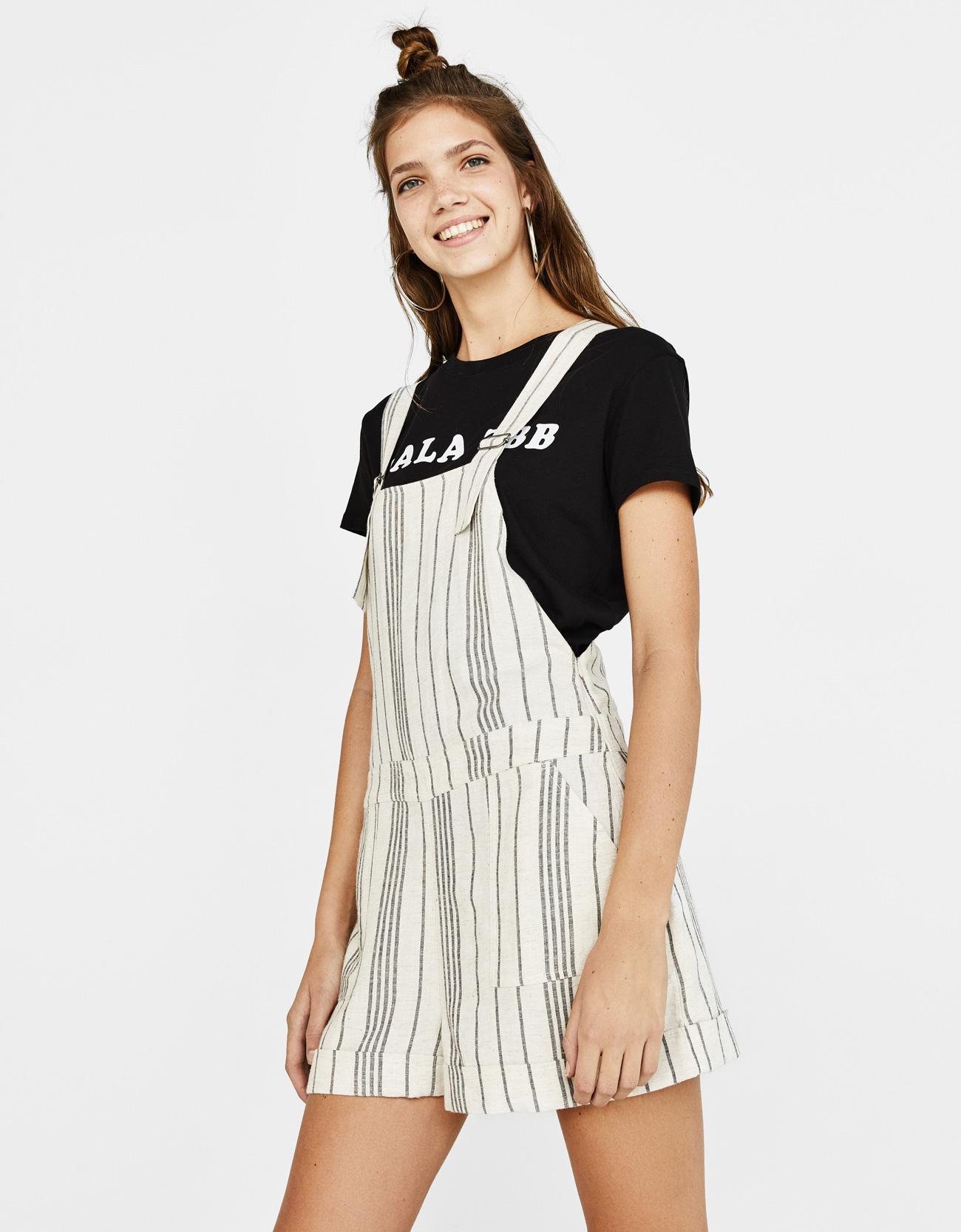 low price usa cheap sale most popular Short striped dungarees - Dresses - Bershka Albania
