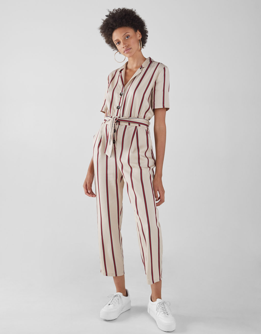 Long Striped Tencel® Jumpsuit by Bershka