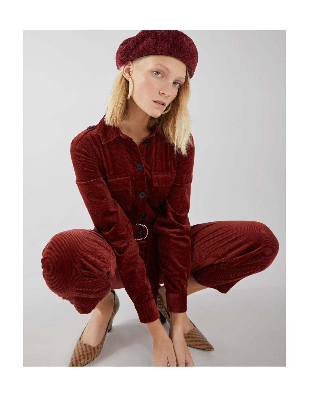 Long Corduroy Overall With Belt by Bershka