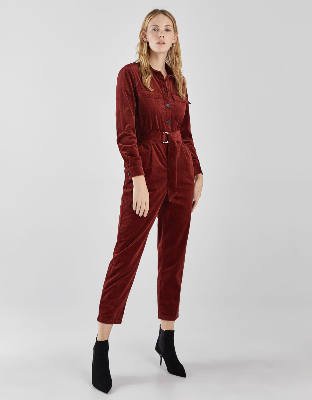 Corduroy jumpsuit with belt