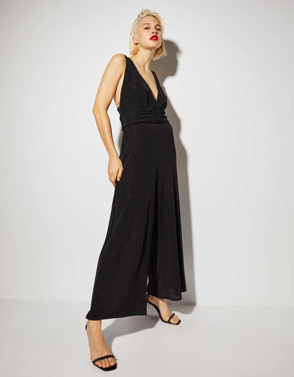 Long jumpsuit with belt