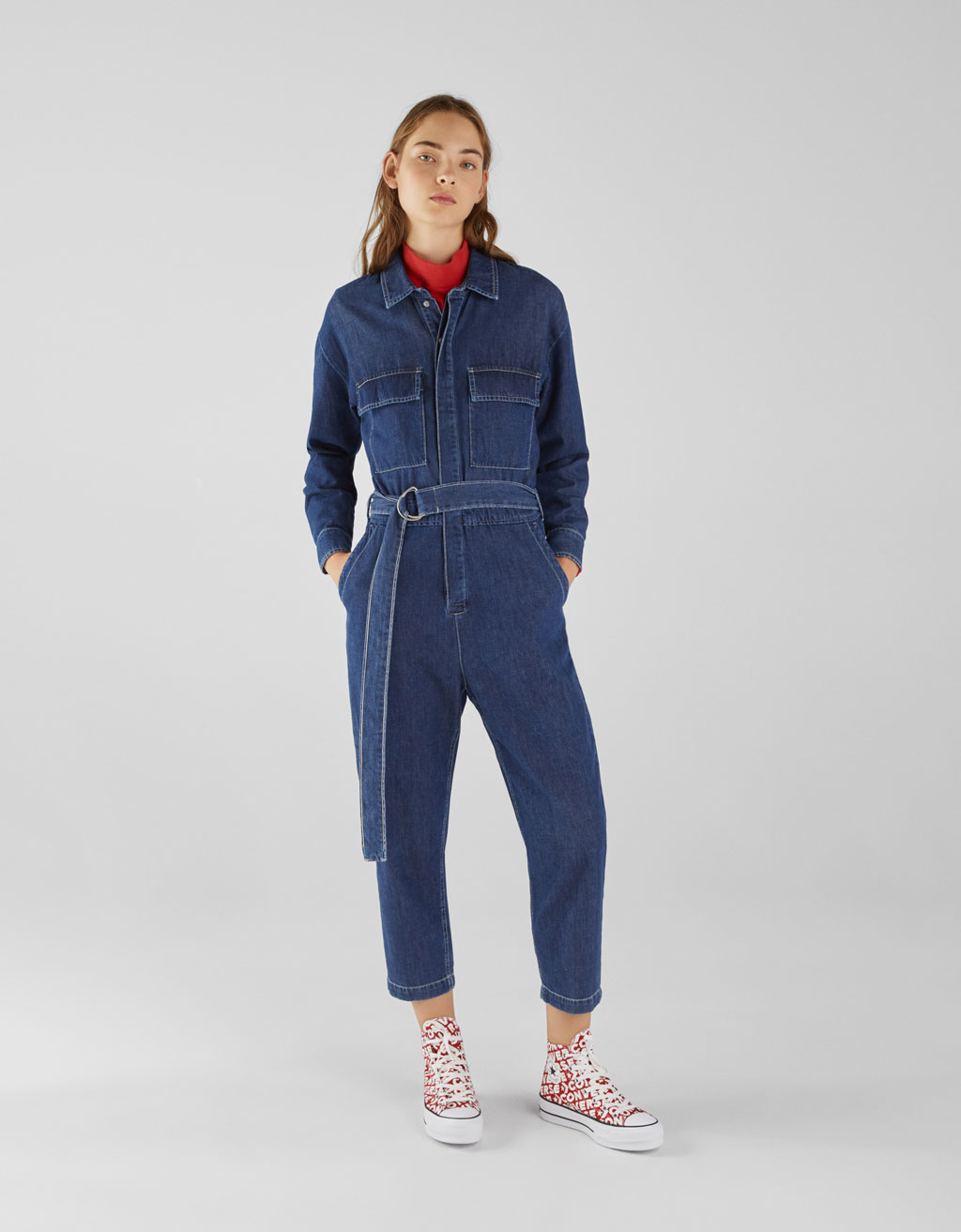 Denim jumpsuit met knopen