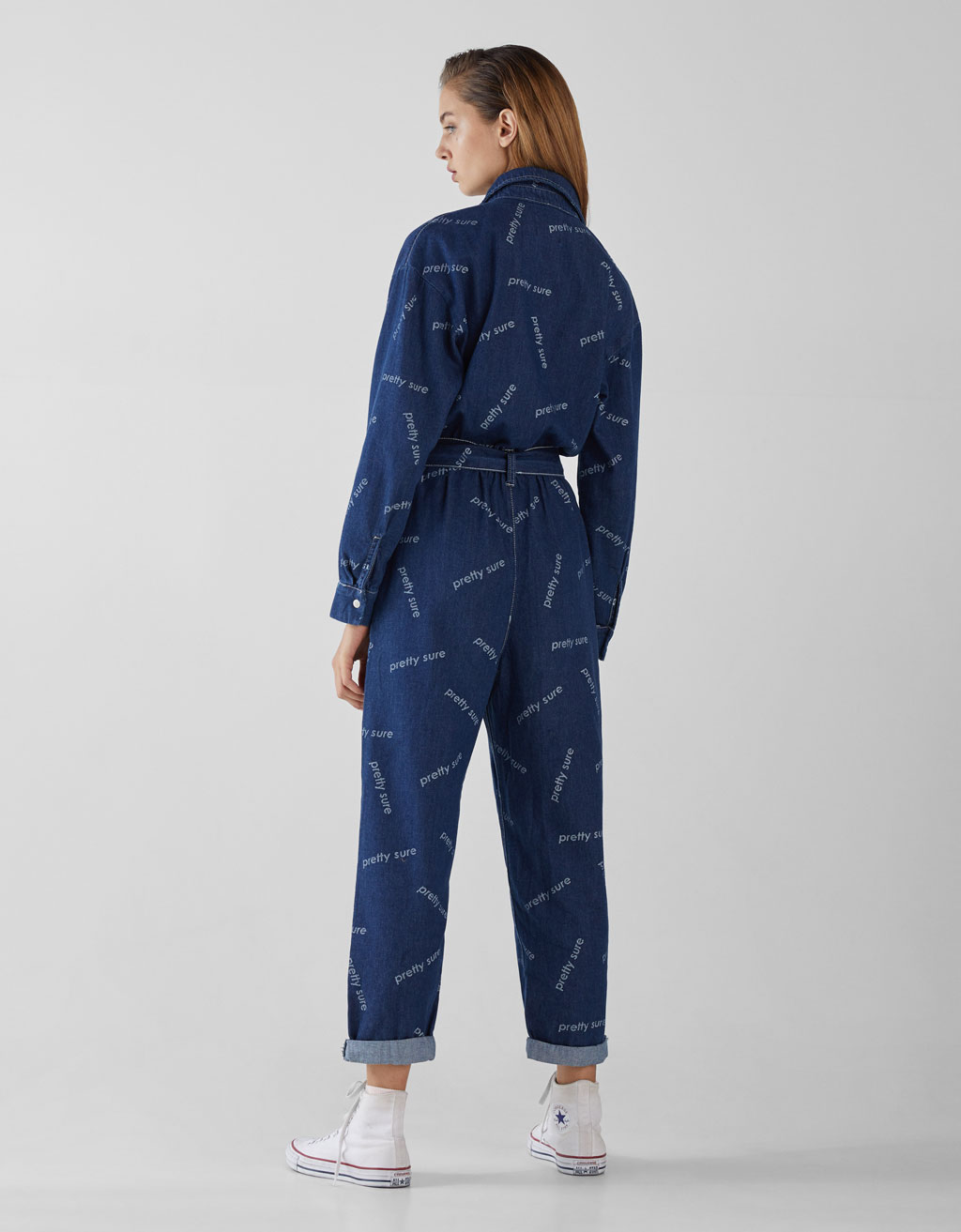 best sneakers outlet dirt cheap Printed denim jumpsuit with belt