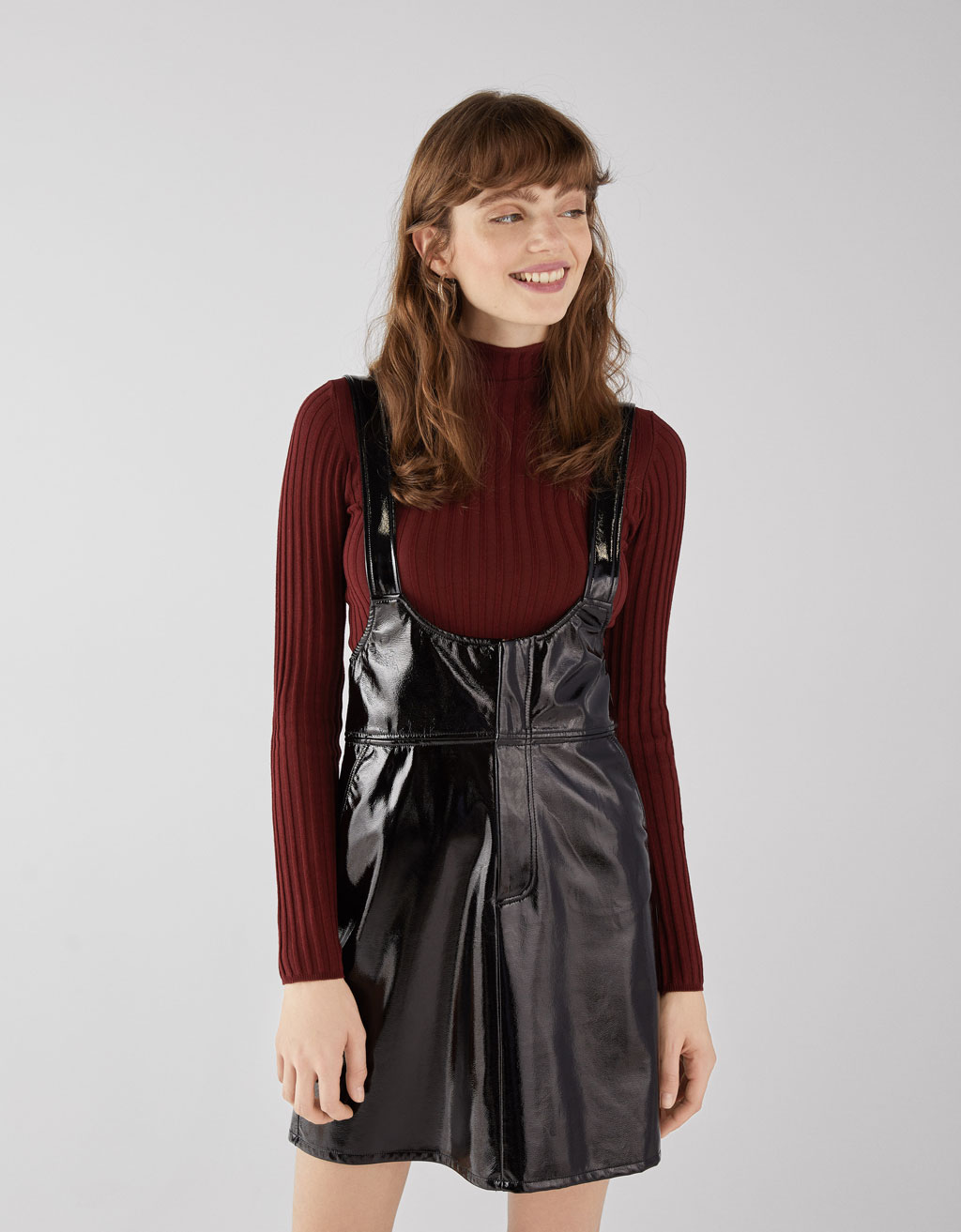 select for genuine big discount sale highly praised Faux vinyl pinafore dress