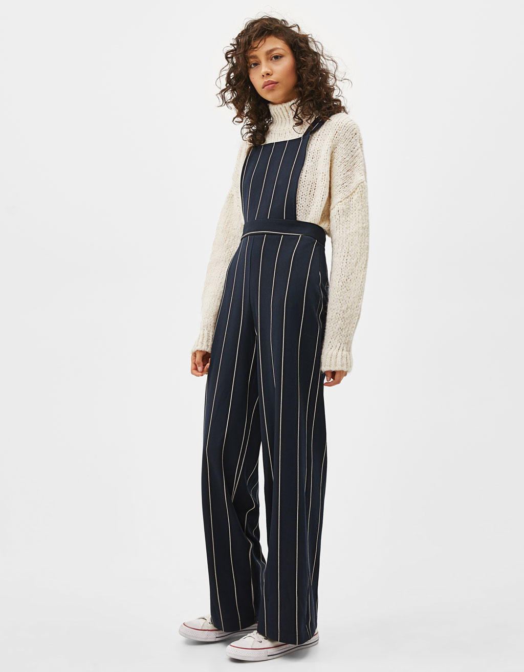 Long striped dungarees