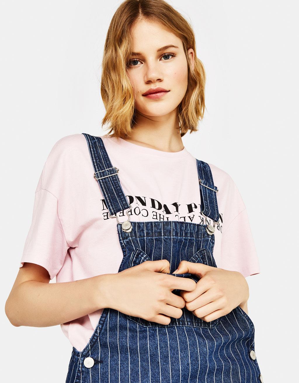 21d668516f3 Denim pinafore dress with stripes - Playsuits   Jumpsuits - Bershka ...