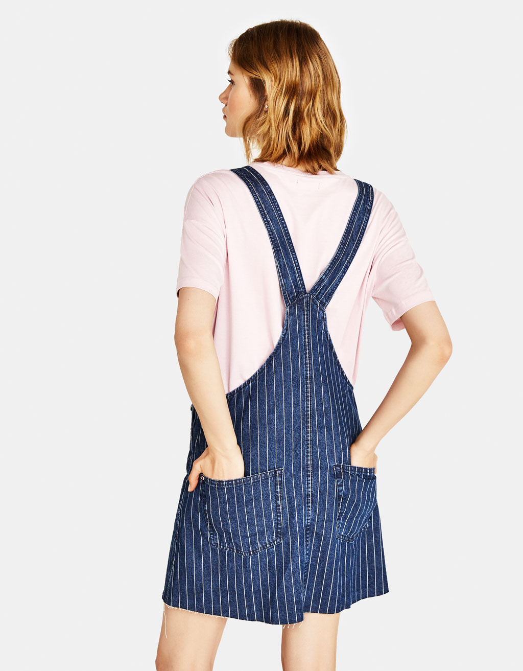 classic chic attractivedesigns wide varieties Denim pinafore dress with stripes - Dungarees - Bershka Tunisia