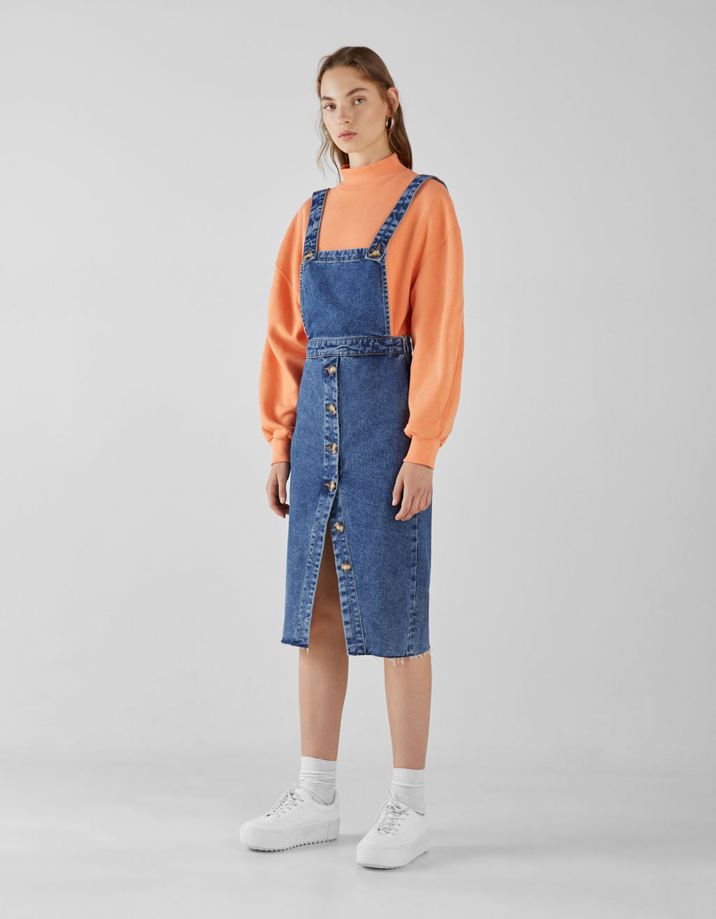 Denim skirt overalls with buttons