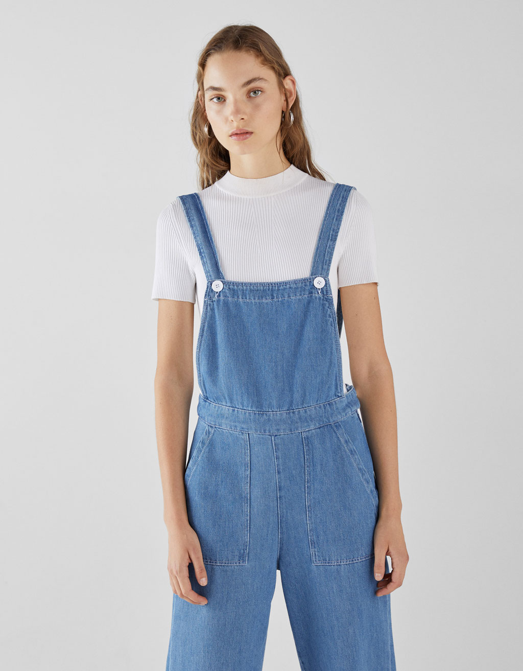 Long denim dungarees