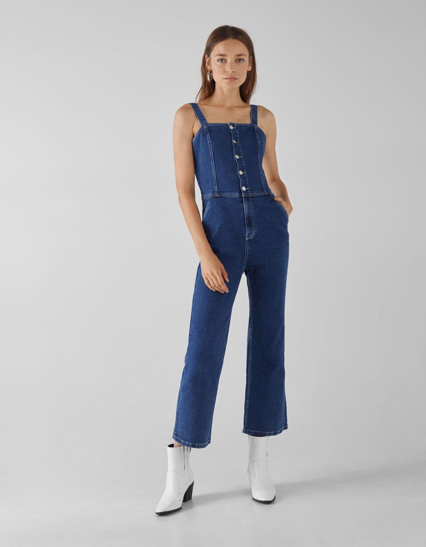 Salopette pantalon en jean à boutons