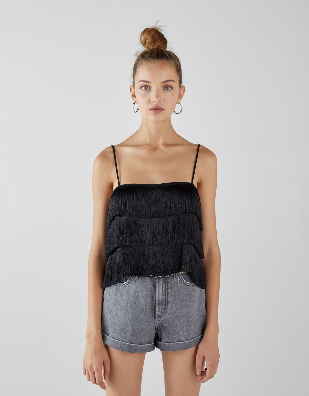 Strappy top with fringing