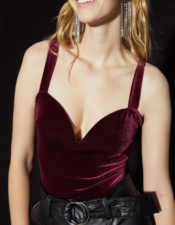 Velvet sweetheart neckline bodysuit