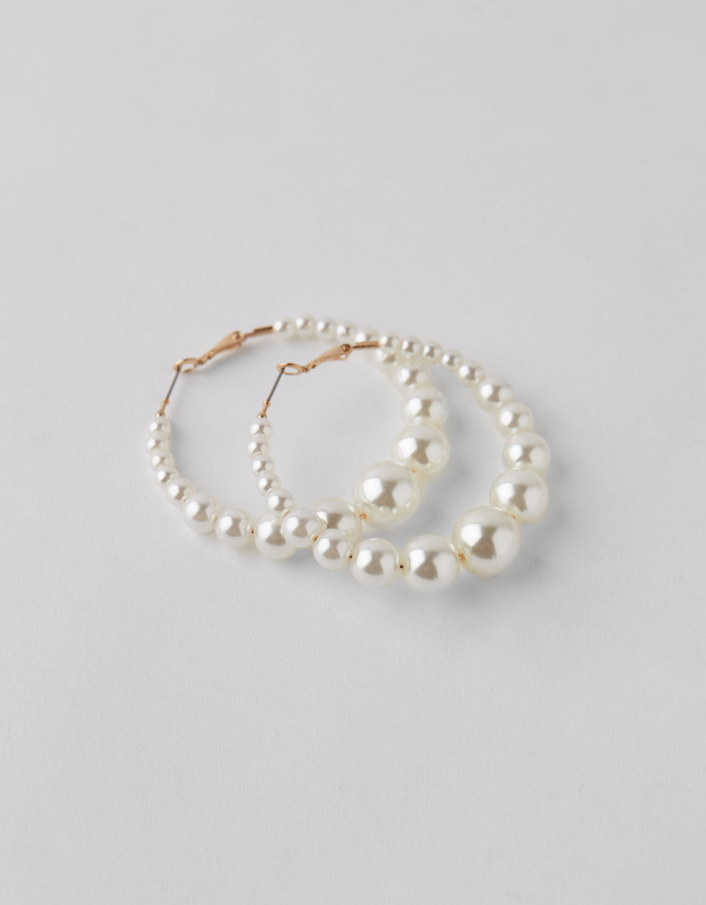 Pearl bead hoop earrings