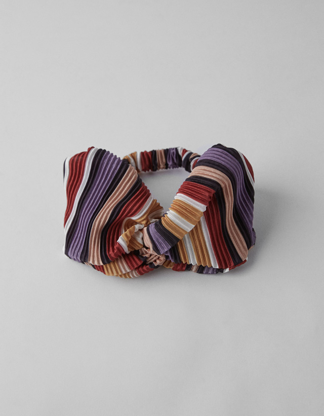 Plissée-Haarband mit Streifenprint