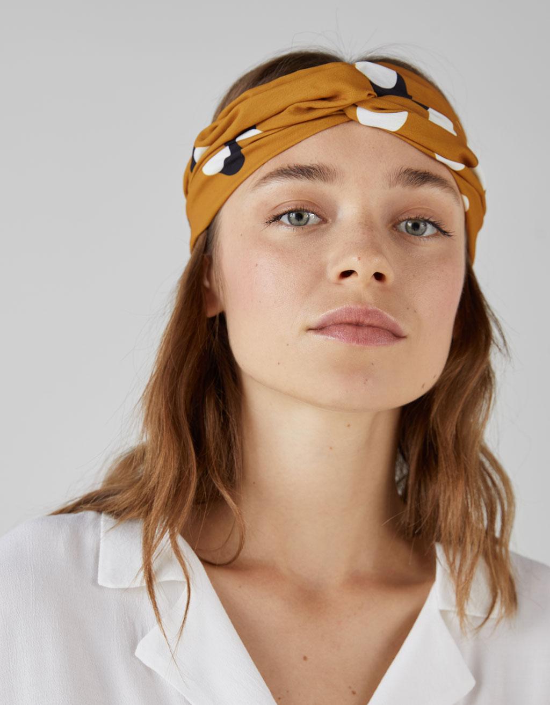 Polka Dot Turban Style Headband by Bershka