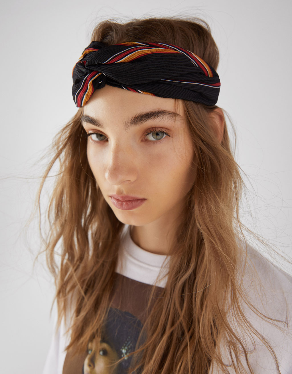 Striped turban-style headband