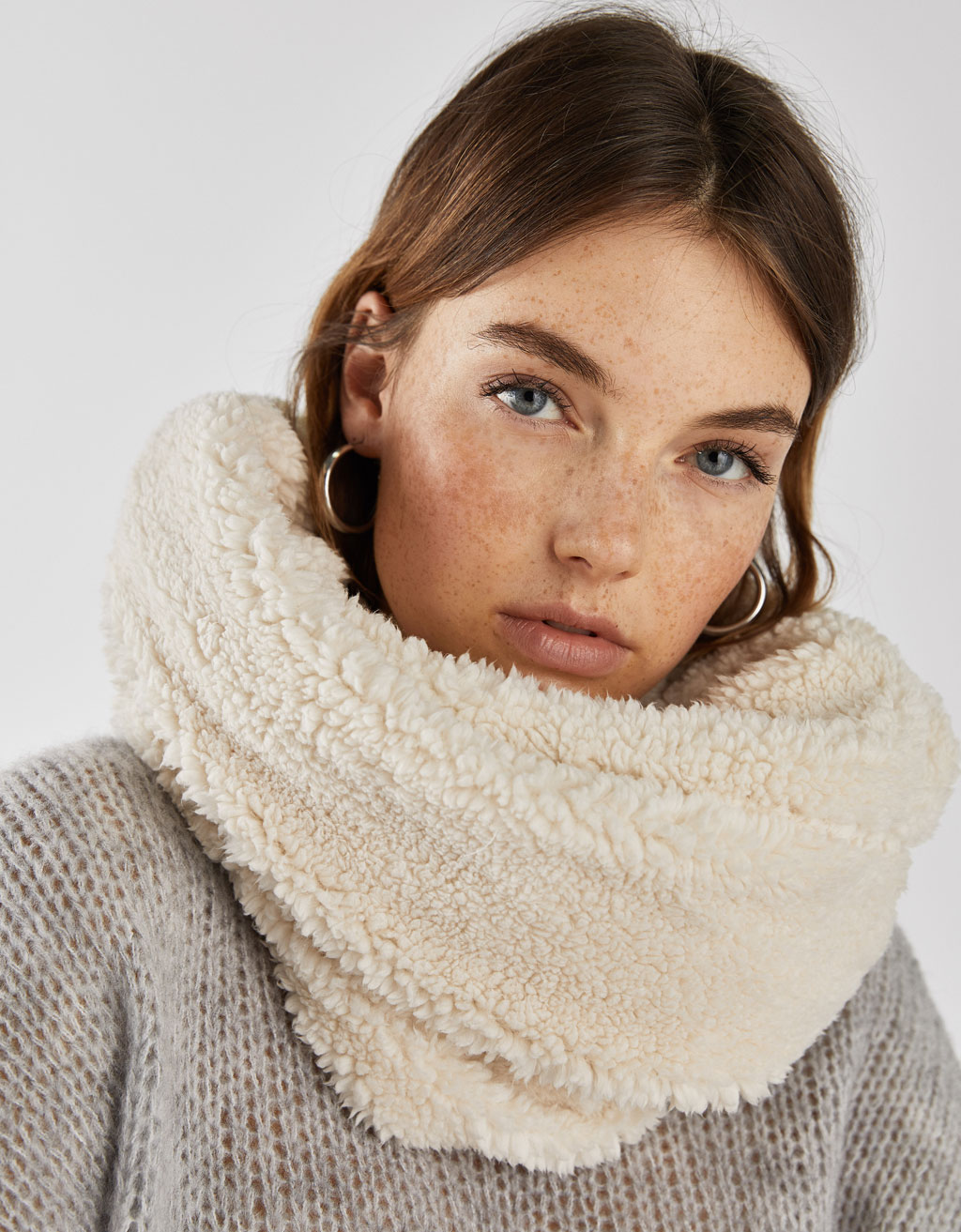 Faux Shearling Lined Infinity Scarf by Bershka