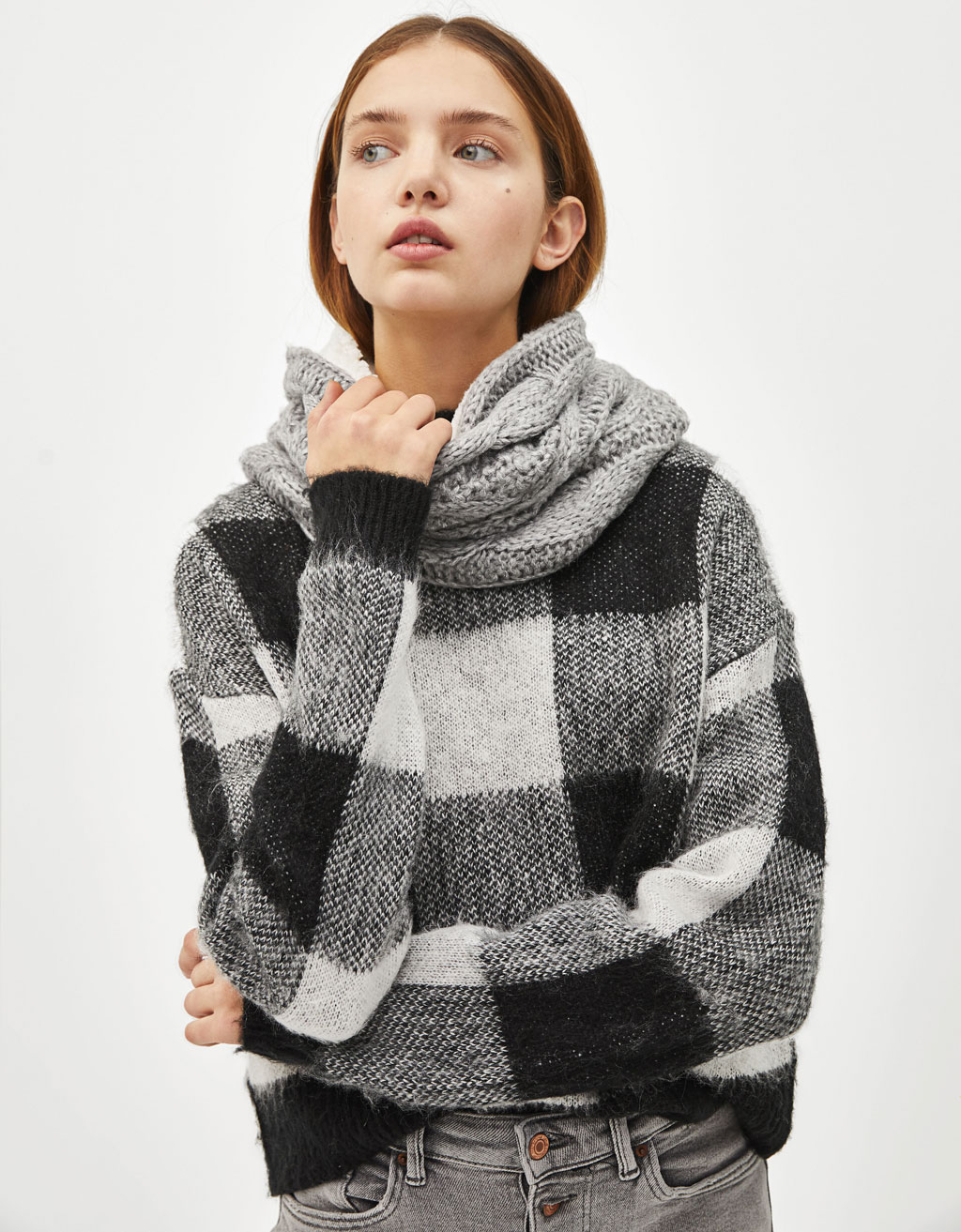 Faux shearling-lined snood